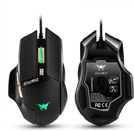 Combaterwing CW10 4800 DPI Wired Gaming Mouse Mice 7 Buttons Design 6 Breathing LED Colors Changing High Precision for Gamer PC MAC