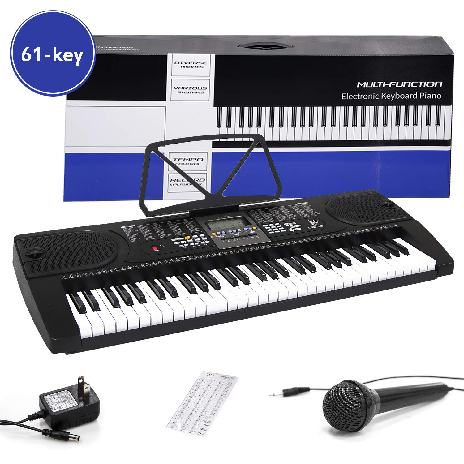 Digital Electric Piano 61-Key Portable Electronic Keyboard with Power Adapter, Sheet Music Stand for Beginners (Kids & Adults) Includes Microphone and Keyboard Sticker by Aileen
