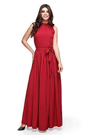 9fd2d0ae88ed9 LUNIANI Women's Semi Formal Belted Sleeveless Long Maxi Dresses Sexy Summer  Evening Bridesmaid Wedding Guest Dress