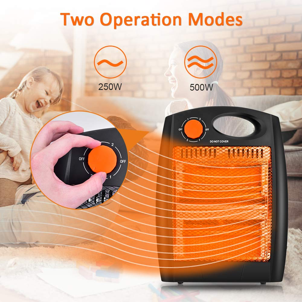 Air Choice Portable Radiant Heater Quiet Office Heater with 2 Heat Settings Fast Heating Light and Portable Space Heater without Fan Infrared Radiant Heater Overheat /& Tip-Over Protection
