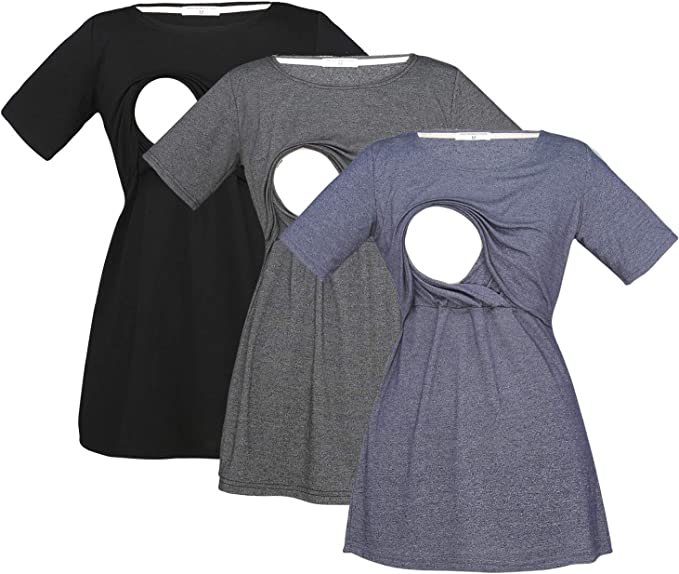 Yiwoza Women S Maternity Clothes Short Sleeve Pregnancy Comfy Breastfeeding Shirts Nursing Tops At Amazon Women S Clothing Store