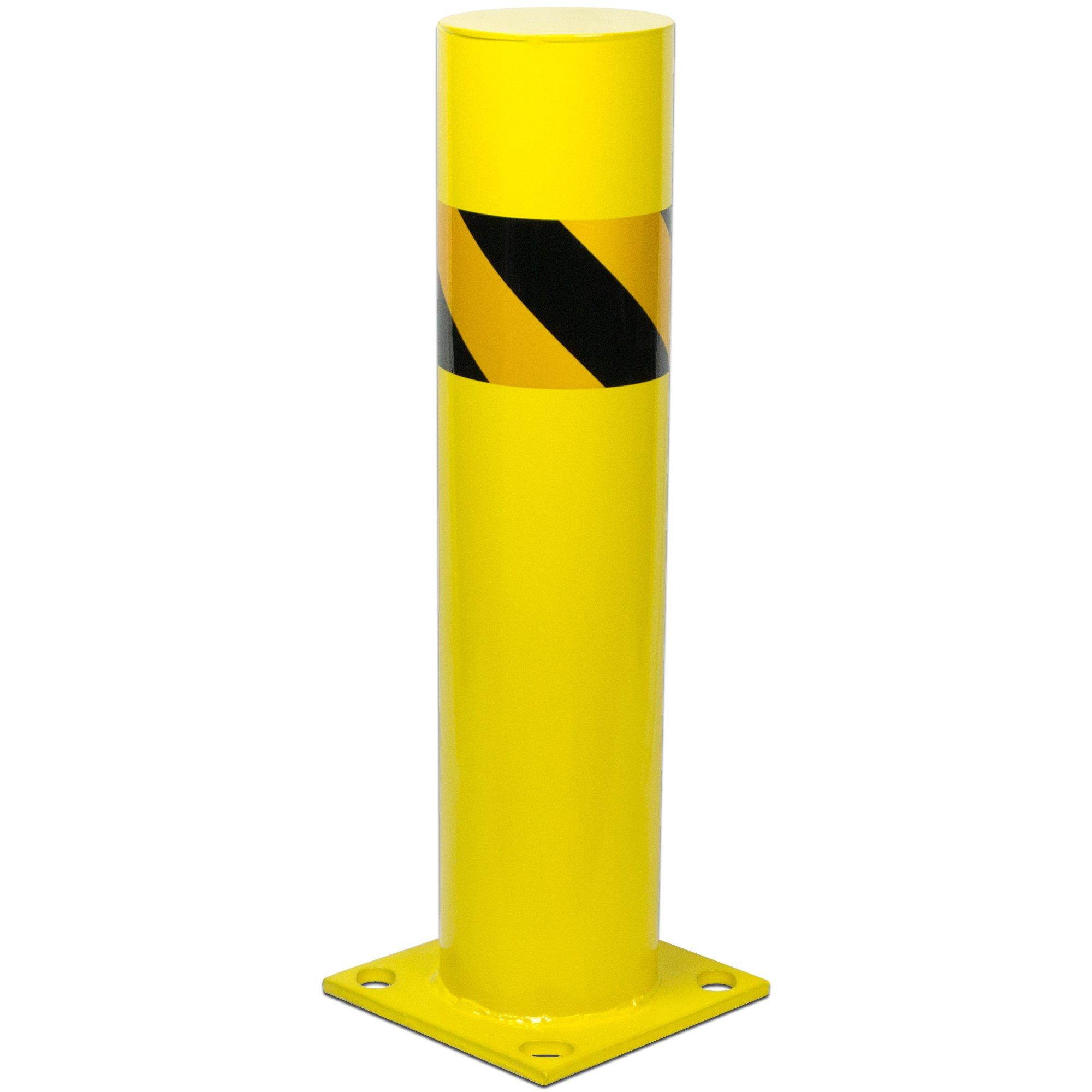 Bollard Post - Steel Safety Barrier Protection- Yellow Powder Coat 5.5'' Diameter 24'' Tall BW5524