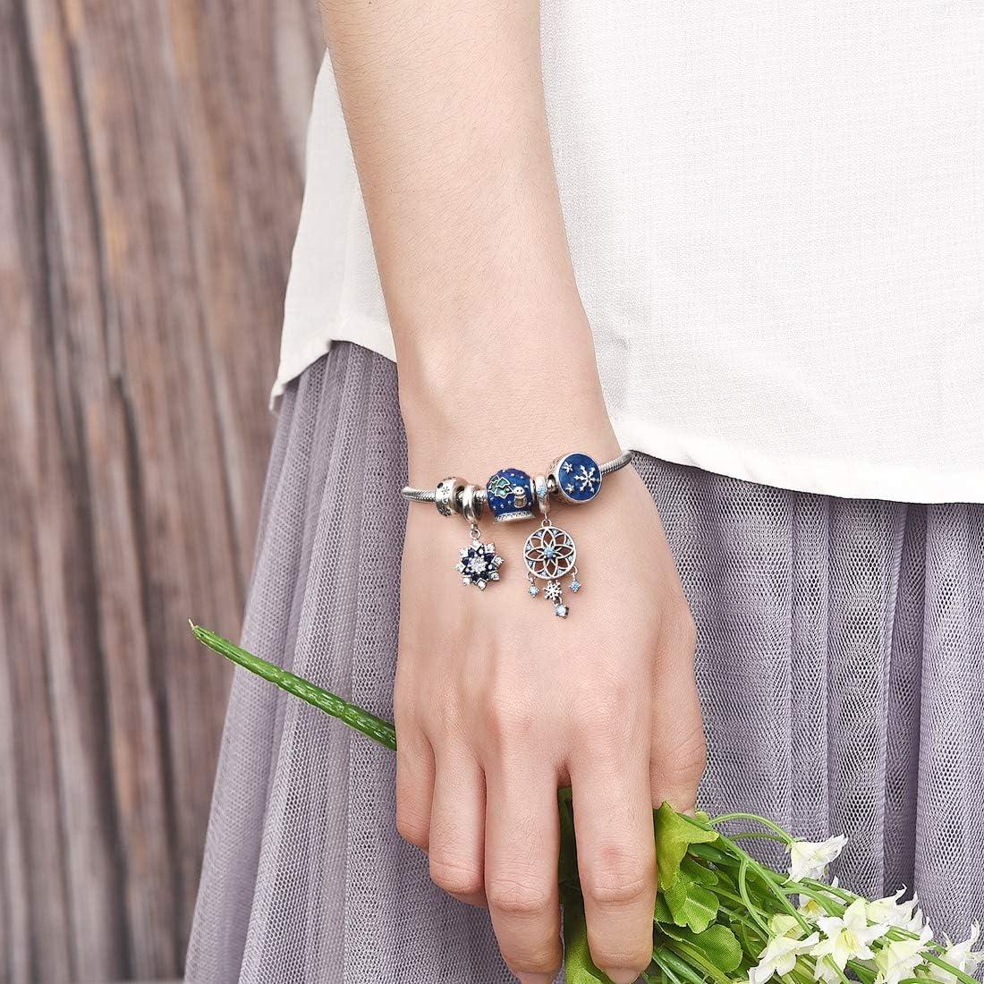 JIAYIQI Femmes Murano Verre Breloques Perle 925 en Argent Sterling Charme Fleur color/ée Charme fit Bracelets Bracelets Collier
