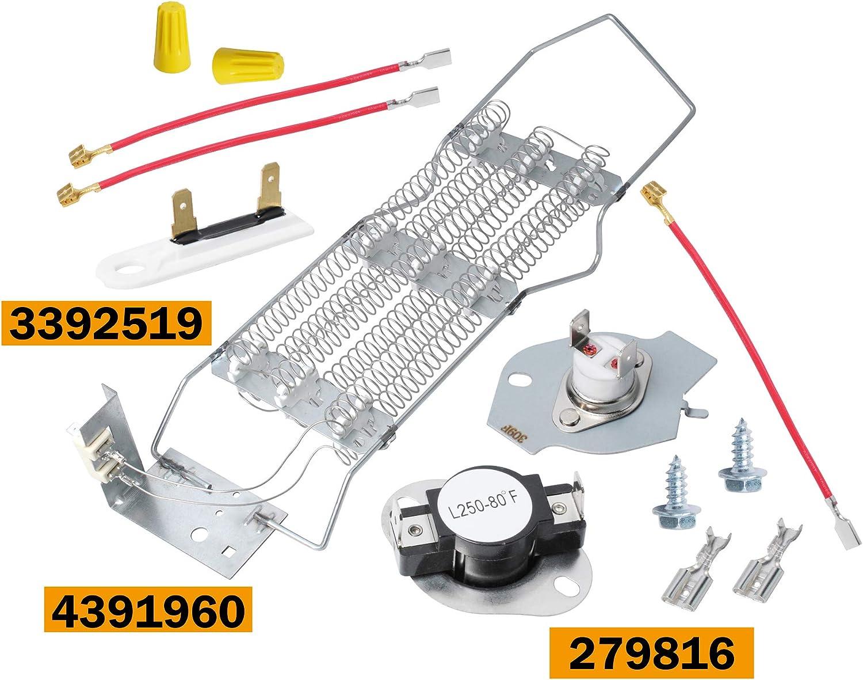 4391960 & 279816 & 3392519 Dryer Heating Element Kit For Whirlpool Kenmore Dryer AP3094244 WP4391960 AP6009347 AP3109438 AP3109438