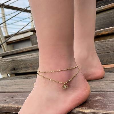 """14k Layered Anklets Bracelets With Pendants 10/"""""""