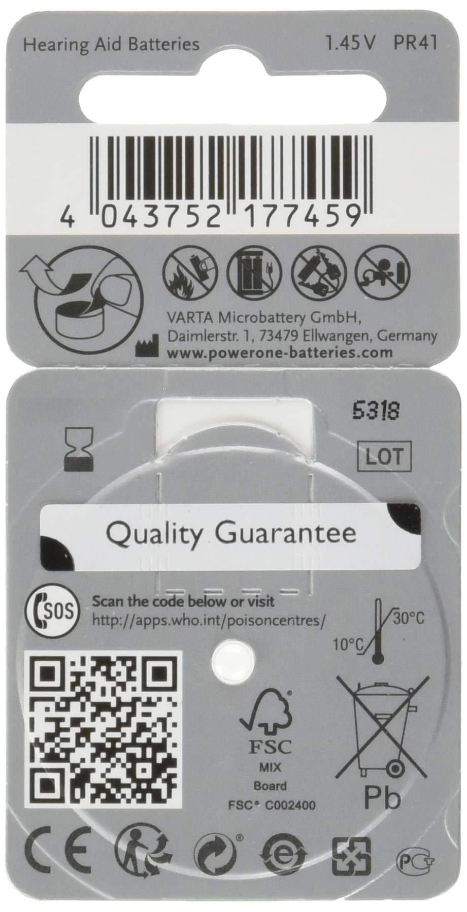 Hearing Aid Battery Powerone Size 312 No Mercury, 60 Batteries