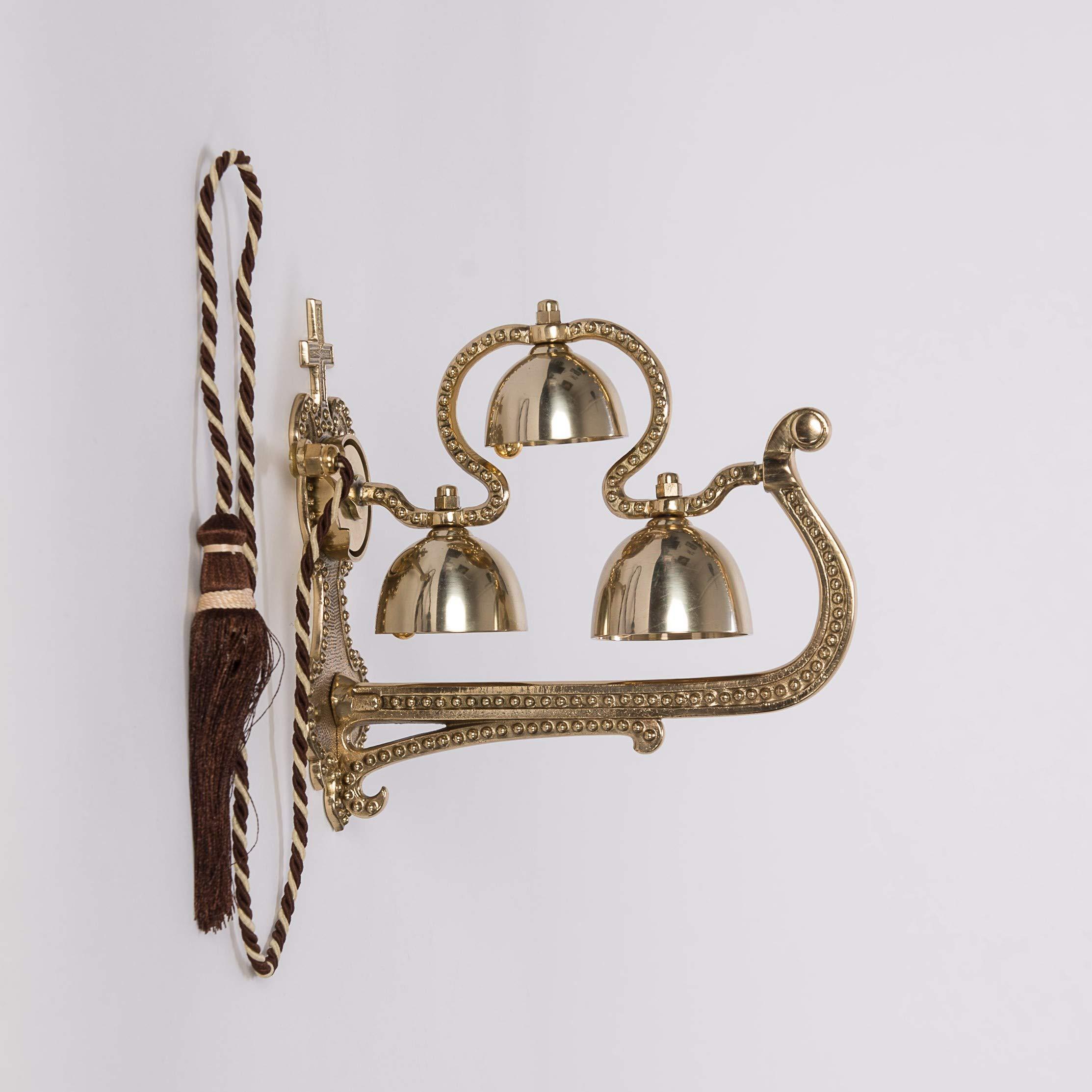 Triple Wall Hung Sacristy Bell - Church Bell - Altar Bell - Communion Bell - Sanctus Bell - Chalice (CCG-85)