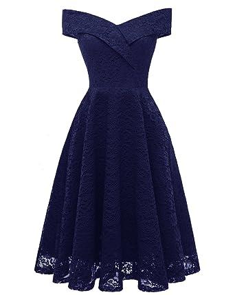 91c52382ddb Amazon.com  Women s Vintage 50s Floral Lace Flare A-line Dresses Shirtwaist  Swing Skaters Dresses Evening Tea Dress S Navy Blue  Clothing