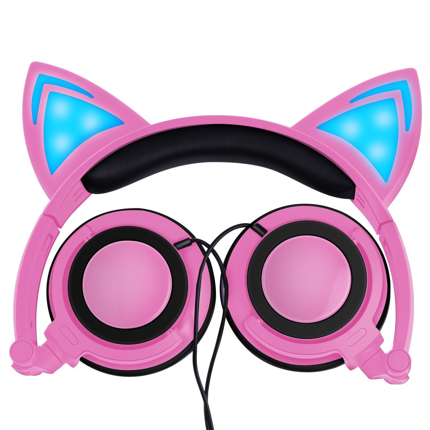 [Upgraded Version] Cat Ear Kids Headphones with LED Light Rechargable 85dB Volume Limited iGeeKid Foldable Over/On Ear Headsets for Girls Boys Phone Tablet School Travel Outdoor