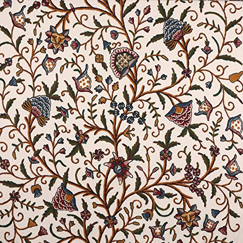 Kashmir Danzdar Vintage Jacobean Floral Hand Embroidered Wool on Cotton Crewel Fabric by the Yard - 54