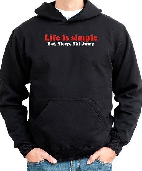 Life simple EAT, Sleep Ski Jumping sudadera con capucha para hombre negro medium
