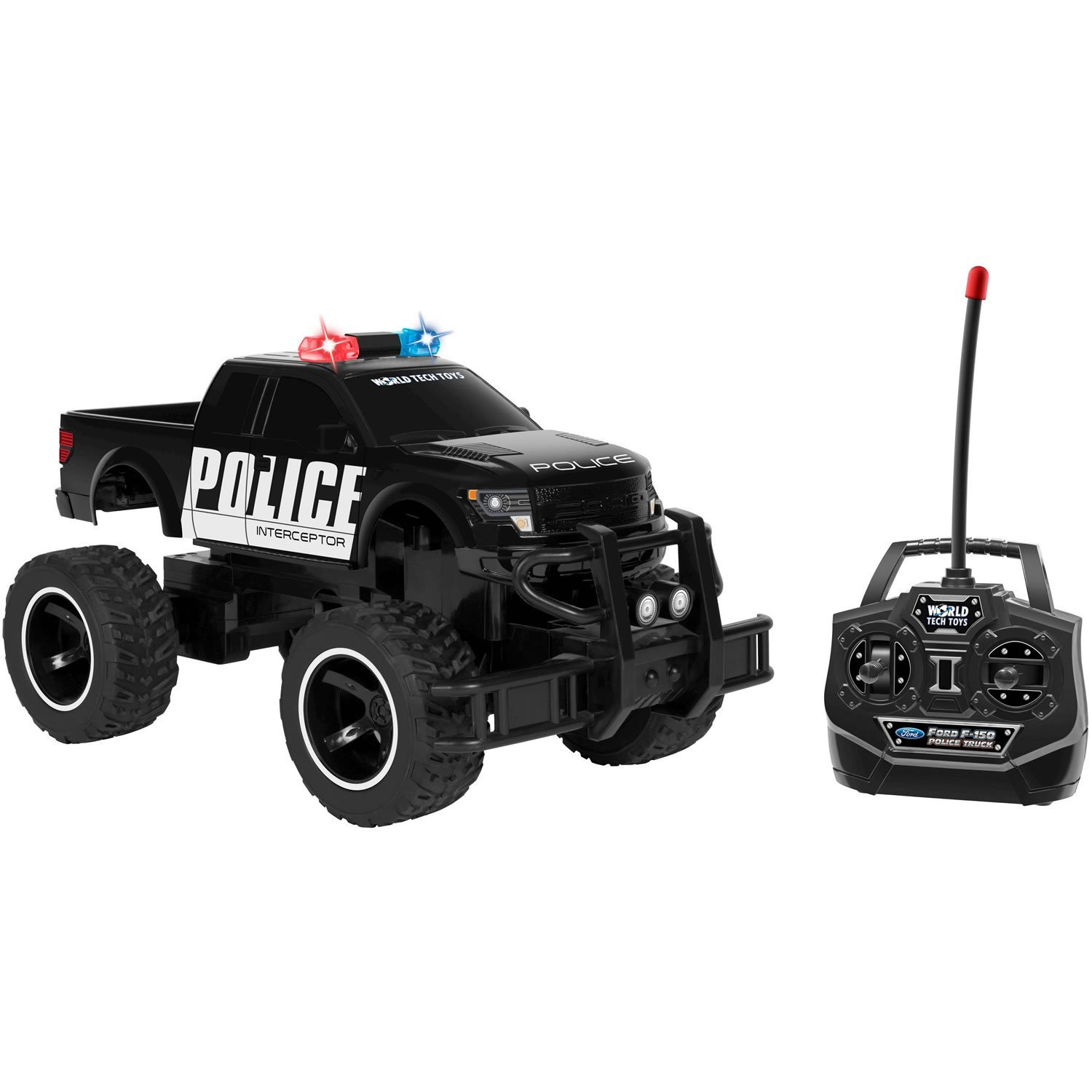 Amazon com world tech toys ford f 150 police 114 rtr electric rc monster truck black 13 5 x 7 toys games
