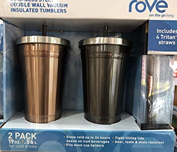 f2e8794c174 2 PCS ROVE STAINLESS STEEL DOUBLE WALL VACUUM INSULATED TUMBLERS TRAVEL MUG  (Black and Bronze)