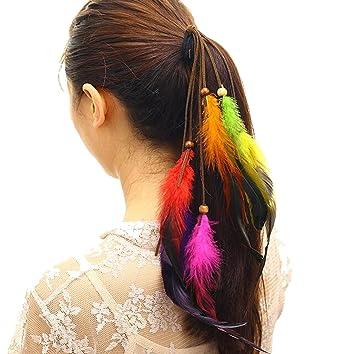 Amazon Com Flyusa Fashion Bohemian Coloful Feathers Tassel Hair
