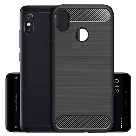 super popular a2cf4 a12c1 Knotyy Redmi Note 5 Pro Back Cover Carbon Fiber Shock Proof Rugged Armor  Case with Metallic Brush Finish for Redmi Note 5 Pro - Black