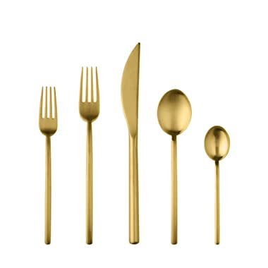 Mepra Due Ice Oro 5 Piece Place Setting, Brushed Gold - 108022005