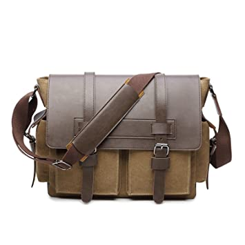 7378f3aeaa47c wewo Ümhängetasche Herren Messenger Bag Leder Laptop Schultertasche Leder  Umhängetasche Groß Canvas Ipad Herrentasche Crossbody Tasche