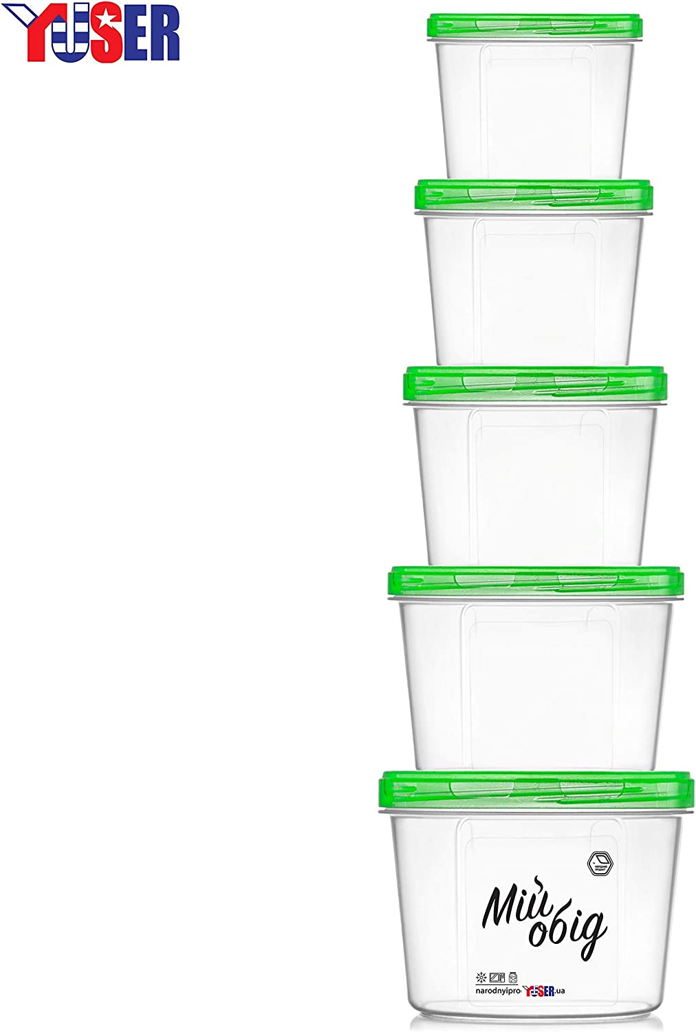 """A set of""""My lunch"""" of 5 containers:1.0 l, 0.7 l, 05 l, 0.3 l, 0.2 l-MADE IN EUROPE-Designed for storing liquid and bulk products-BPA-free-Microwave oven, Dishwasher and freezer- with green screw caps"""