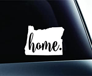 #3 Home Oregon State Salem Symbol Sticker Decal Car Truck Window Computer Laptop (White)
