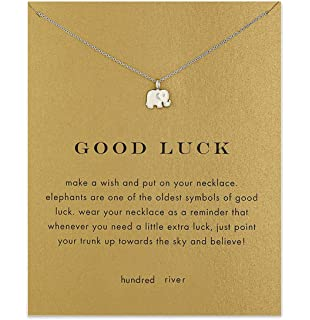 """Good Luck Elephant Pendant Choker Necklace with Message Card 16+2/"""""""