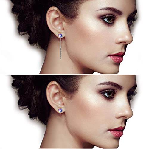 542914318 PLATO H Color Changing Crystal Stud Tassel Earrings for Women, Gift Boxed  Dual-Style