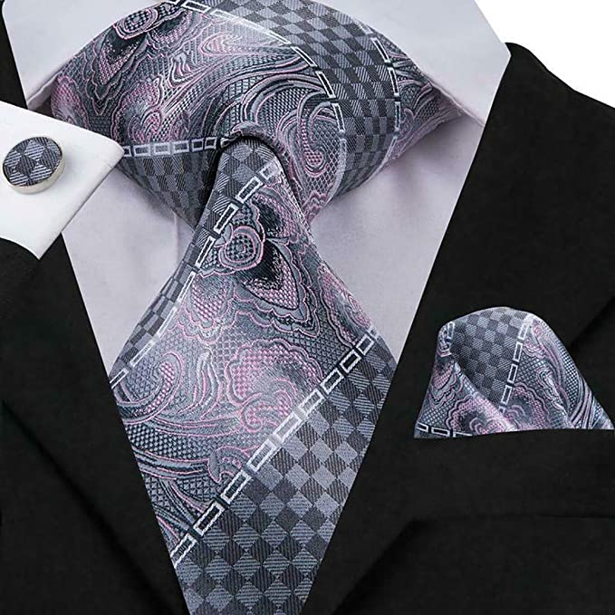 b7a789bfbce7 Image Unavailable. Image not available for. Color: Irvint & Co Silk Mens  Pink - Gray Tie Necktie Striped ...