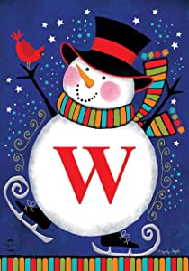 "Briarwood Lane Winter Snowman Monogram Letter W Garden Flag 12.5"" x 18"""
