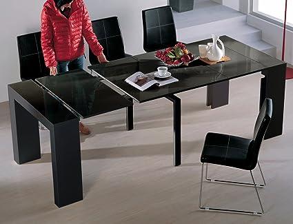 VIVA HOME H 1003BG Audrey Dining Table, Black Gloss
