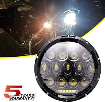 7 Halo LED Headlight with DRL For Harley Davidson Motorcycle Projector LED Headlamp Set Black,DOT Approved
