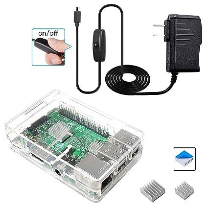 computer case accessories Aluminum Heatsink Cooler Kit For Raspberry Pi 3 Pi 2 B UE Clear ABS Case Box