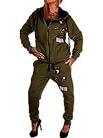 Damen Jogging-Anzug   USA Patches 685   Trainings-Anzug aus 100% Baumwolle   Trainings-Jacke mit Reißverschluss   Jogging-Hose mit Tunnelzug und Zugband   Sport-Anzug mit Rippstrickbündchen   S-3XL