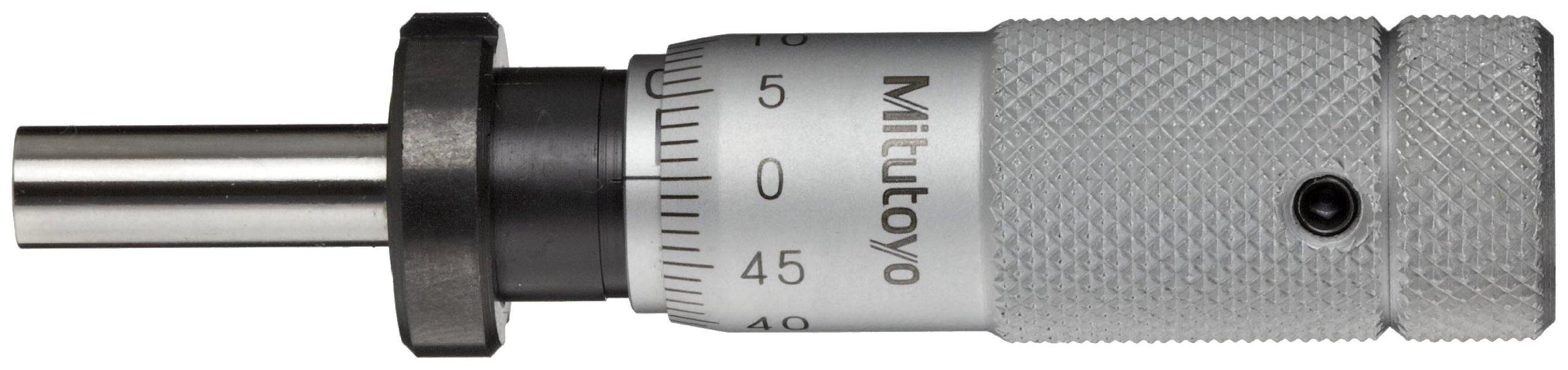 Mitutoyo 148-504 Micrometer Head, Zero-Adjustable Thimble, 0-13mm Range, 0.01mm Graduation, +/-0.002mm Accuracy, Plain Thimble, Clamp Nut, Flat Face, Spindle Lock