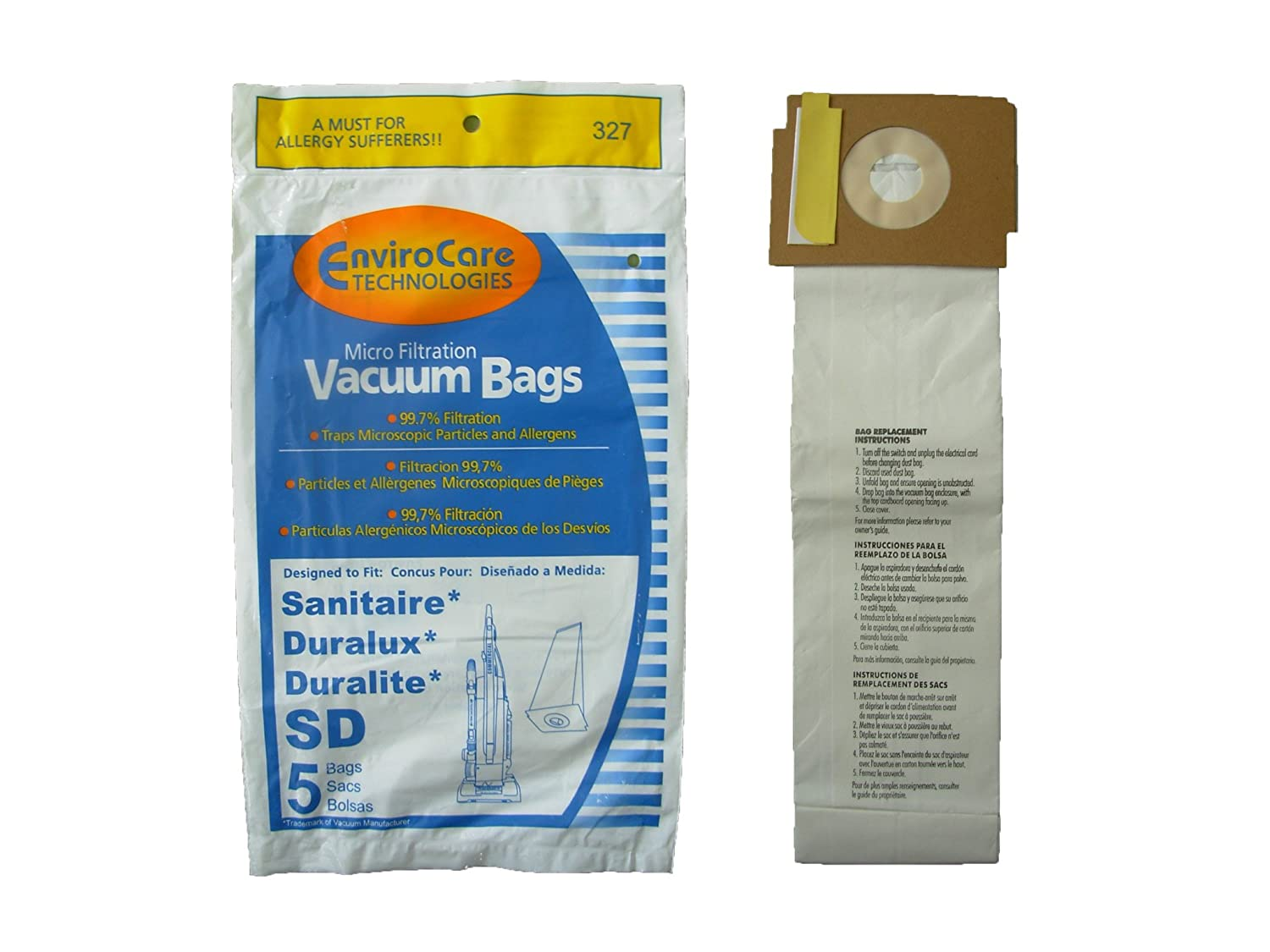 Amazon.com: 125 Sanitaire Sd Micro with Closure Vacuum Bags ...