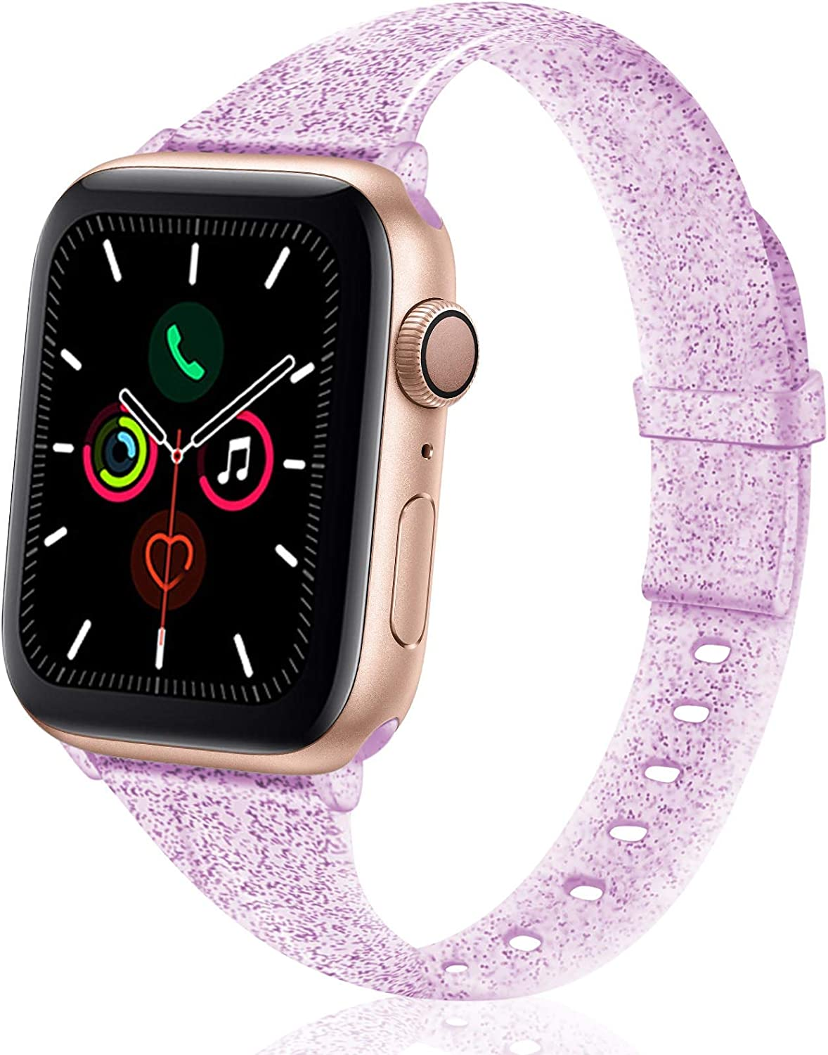 TSAAGAN Glitter Slim Silicone Band Compatible with Apple Watch 38mm 42mm 40mm 44mm, Sparkly Bling Thin Replacement Wristband Accessory for iWatch Series 5/4/3/2/1 (Glitter Lilac, 38mm/40mm)