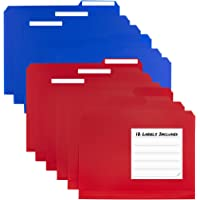 Dunwell Colored Plastic 3-TAB File Folders (12 Pack, 6 Blue 6 Red) Letter Size, 1/3-Cut Tabs, More Durable Than Manila…