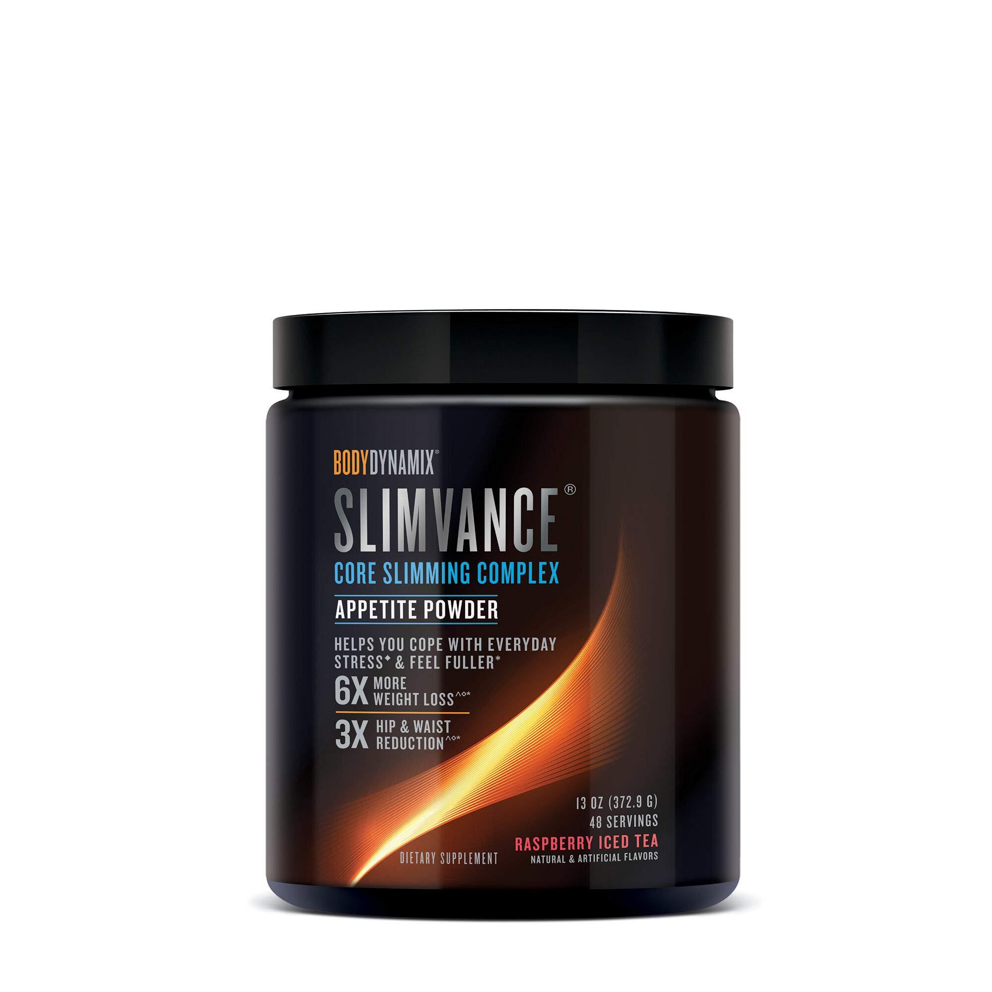 BodyDynamix Slimvance Core Slimming Complex Appetite Powder - Raspberry Iced Tea, 48 Servings, Help Feel Fuller Longer