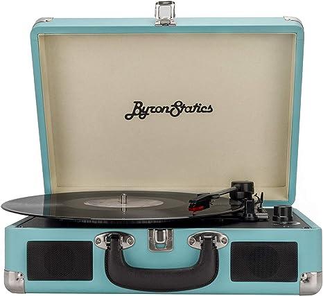 Byron Statics KCT-601 Turntable Record Player Speaker Portable Vinyl Player 3 Speed Dust Free Suitcase Autostop RCA Output AUX Input Headphone Jack ...