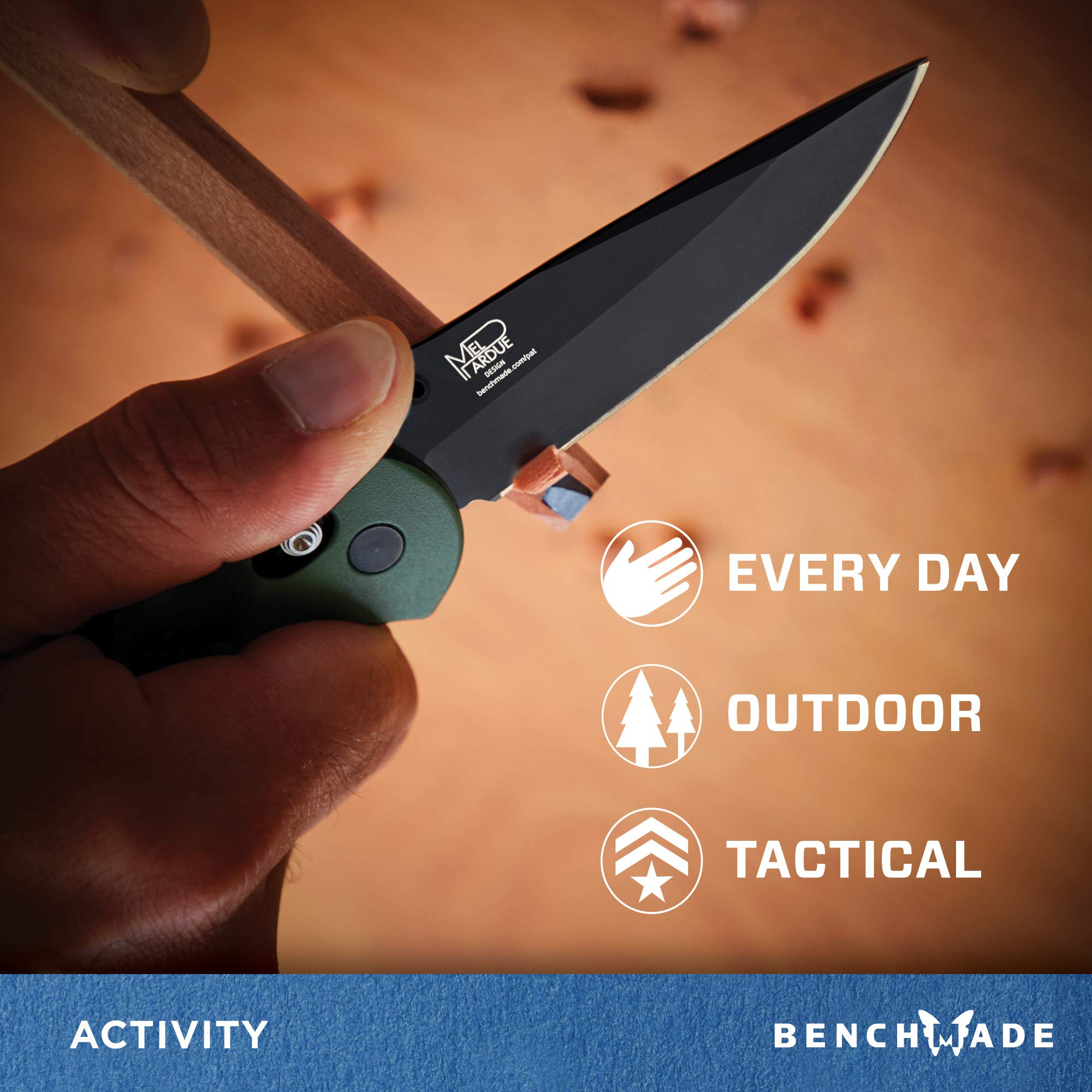 Benchmade - Griptilian 551 Knife with CPM-S30V Steel, Drop-Point Blade, Plain Edge, Coated Finish, Olive Handle by Benchmade (Image #3)