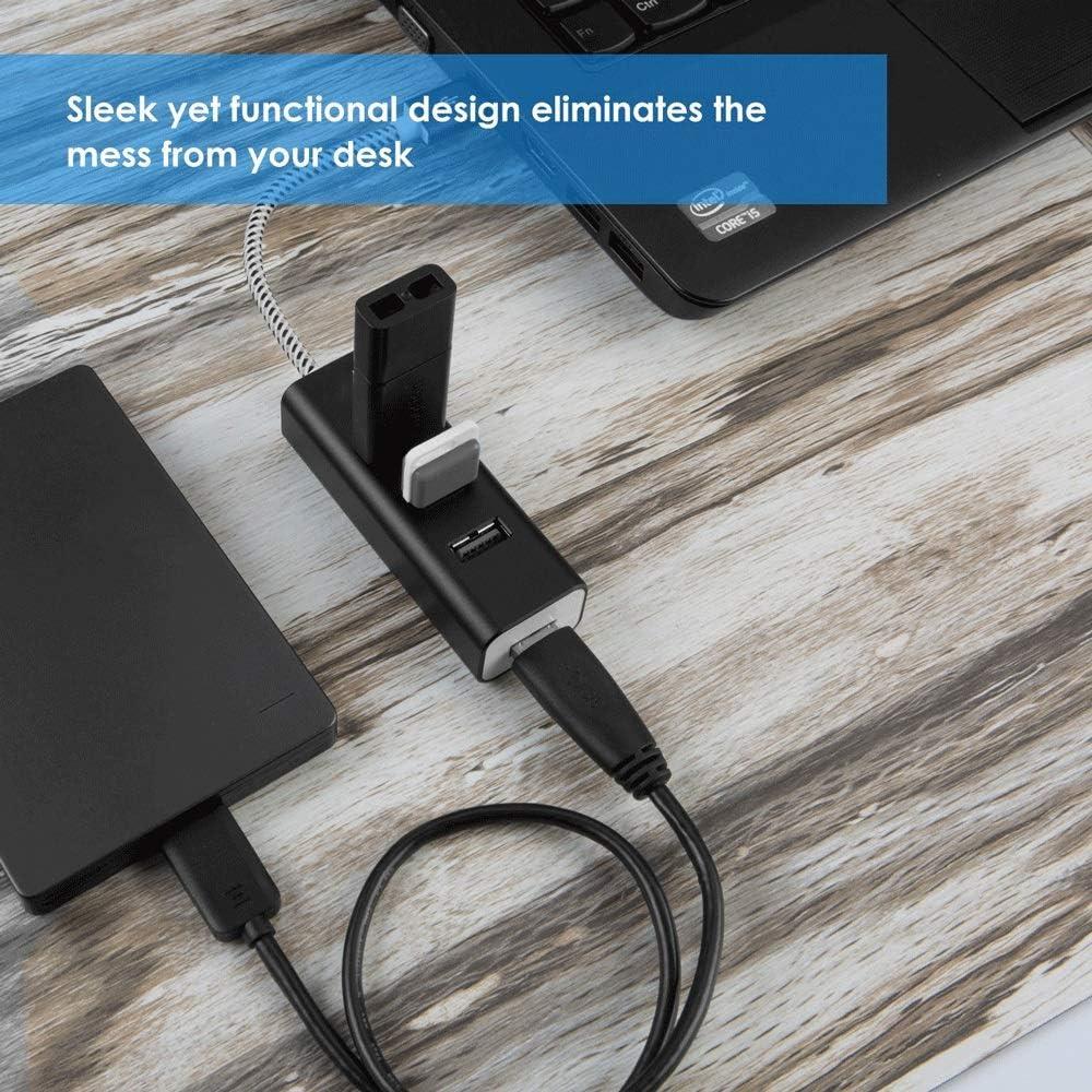 PC USB Flash Drives IhDFR 4-Port USB Splitter 3.0-Port Aluminum Data Hub for Mac Color : Black, Size : 0.1M