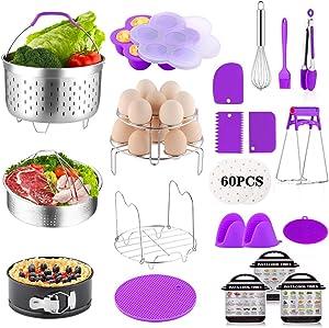 YOLIFE 16 Pieces Instant Pot Accessories 6,8 Qt, Pressure Cooker Accessories Set - Steamer Baskets, Springform Pan, Stackable Egg Steamer Rack, Egg Bites Mold, Parchment Paper