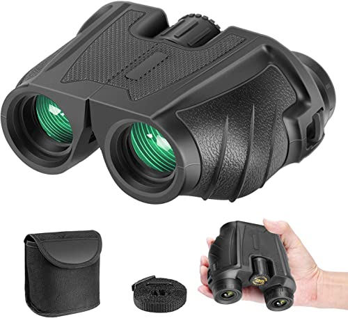 Neewer 10×25 Folding High Powered Binoculars with Weak Light Night Vision Clear Bird Watching Compact Waterproof Great for Traveling Hiking Outdoor Sports Games and Concerts for Adults and Kids