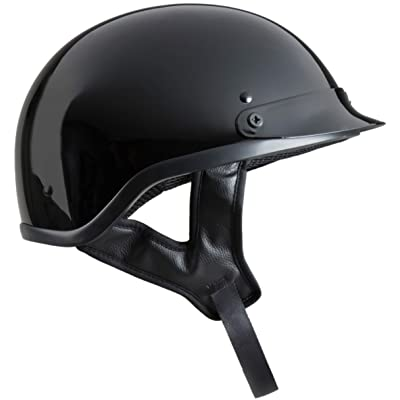 Fuel Helmets SH-HHGL14 Unisex-Adult Deluxe Shorty DOT Approved Motorcycle Half Helmet (Gloss Black, Small): Automotive