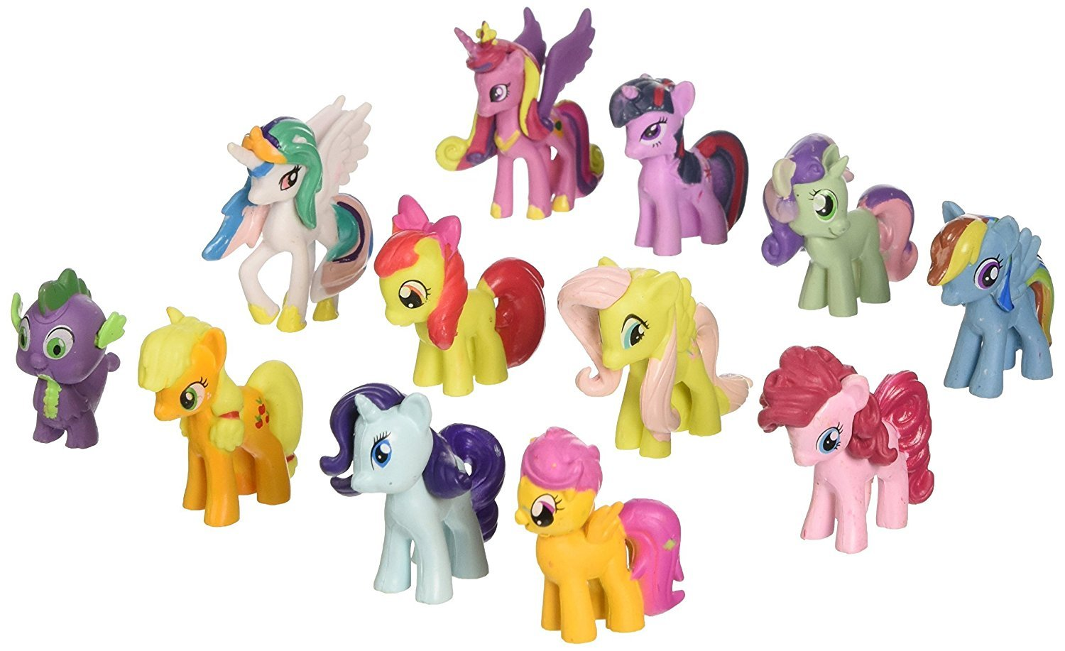 Max Fun 12pcs Pony Dolls, 1.5-2' Tall My Little Pony Figure Toys For Kids Cupcake Cake Toppers by Max Fun