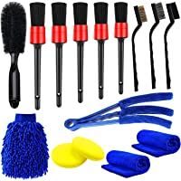 Yumzeco 15 stuks auto detaillering borstels Kit,Auto Cleaning Kit met detaillering borstels,Draadborstels,Airconditioner…
