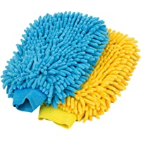 MR.SIGA Microfiber Car Wash Mitt, Pack of 2, Blue & Yellow