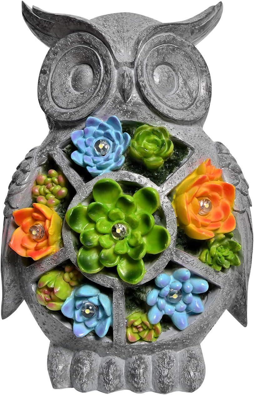 ASAWASA Owl Solar Garden Statues and Sculptures Outdoor Decor, Garden Figurines with Solar Powered Lights for Patio,Lawn,Yard Art Decoration, Housewarming Garden Gift,6.3x5.5x9.7 Inch