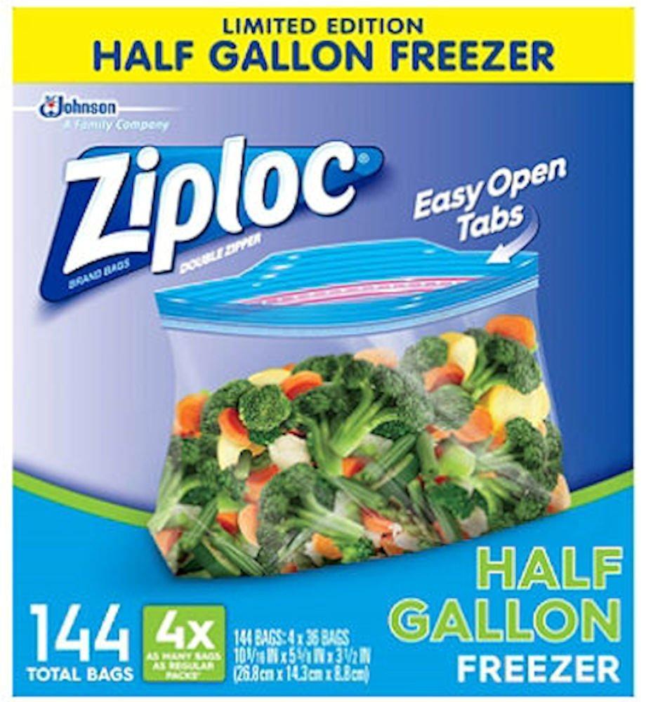 Ziploc Half Gallon Freezer Bags (4 boxes of 36 bags - Total of 144 bags)