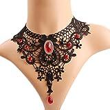 Meiysh Elegant Black Lace Gothic Lolita Red Pendant Choker Necklace Earrings Set