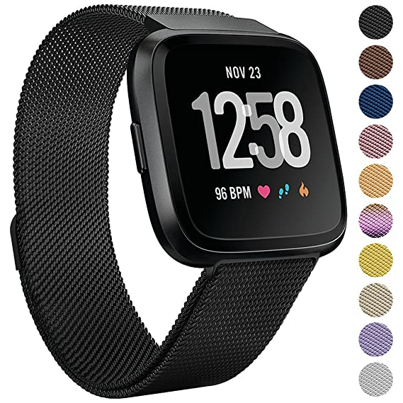 Onedream for Fitbit Versa Bands Black for Women Men, Accessories for Fitbit Versa Smartwatch & Special Edition, Metal Mesh Milanese Replacement Bands ...