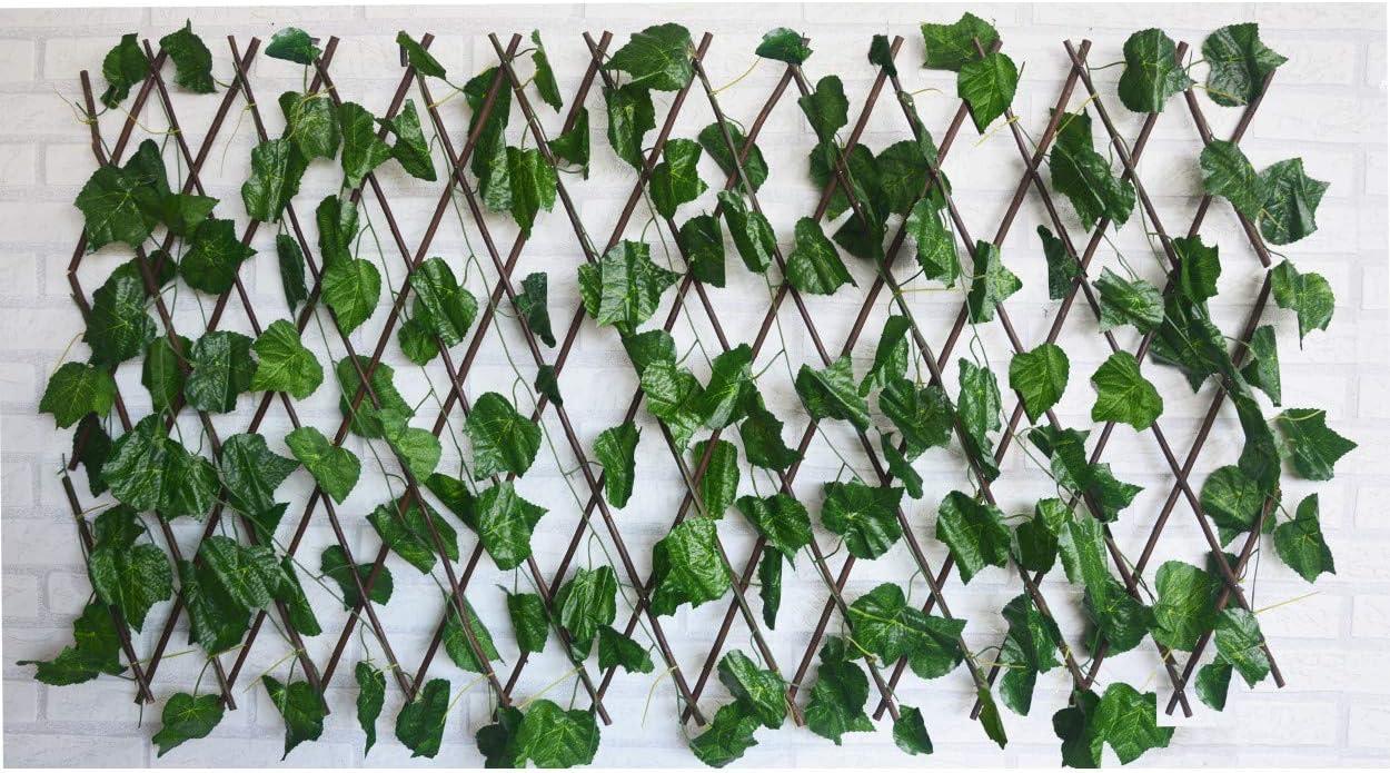 Hogar y Mas Jardin Vertical, celosia Extensible Hiedra Artificial con Estructura de Madera Natural para Decoración Realista.: Amazon.es: Hogar